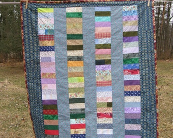 Summer Scrappy Strip Quilt with Flannel Backing