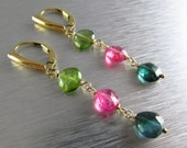 Colorful Tourmaline With Gold Fill Earrings