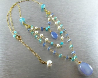 Triple Strand Perwinkle Blue And Aqua Blue Chalcedony, Freshwater Pearl,Amazonite Gold Filled Necklace