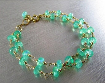 25% Off Green Moonstone Double Strand With Gold Filled Wire Wrapped Bracelet