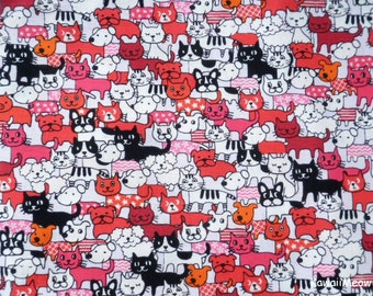 Kawaii Japanese Fabric - Cats & Dogs on Red - Fat Quarter (no20161110)