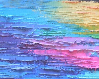 """Abstract Painting, Four Seasons Art, Summer Painting, Daily Painting, Small Oil Painting, 4x12"""" Oil"""