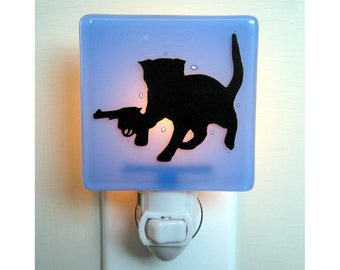 Funny Cat Night Light - Kitten With a Gun - Hand Painted Fused Glass