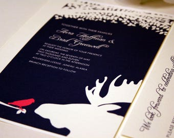 Bird and Moose Wedding Invitation with Tree, Wedding Invites, Wedding Invitations