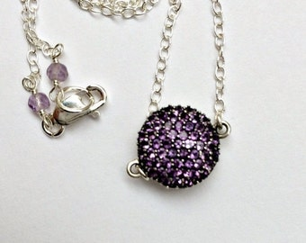 55% OFF Purple Amethyst Necklace Pave Pendant Sterling Silver Sideway Necklace Minimalist Jewelry Layering Necklace February Birthstone Gift