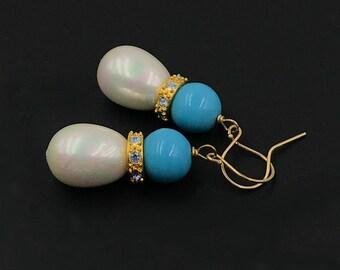 Pearl Dangle Earrings Turquoise Beaded Fancy CZ Rondelles Wire Wrapped Drop Earrings Majorca Pearl and Turquoise Fancy Dangle Earrings