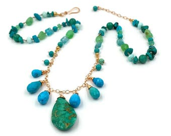 Turquoise Hand Knotted Silk Dangle Necklace Chrysoprase Boho Chic Fringe Necklace Rose Gold Fill Bohemian Luxe Gift for Her Summer Jewelry