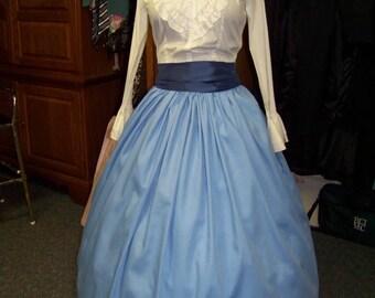 Civil War Victorian Long drawstring SKIRT Light Blue striped fabric and Dark Blue Sash one size fit all