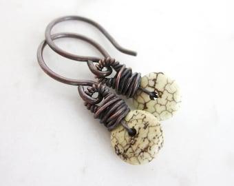 Small stone earrings, blackened copper magnesite earrings, boho drop earrings, cream stone dainty wire wrapped earrings, minimal earrings