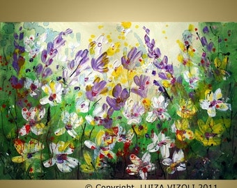 Original Modern Abstract Impressionist Impasto Palette Knife Oil Painting by Luiza Vizoli  FLOWERS in the RAIN