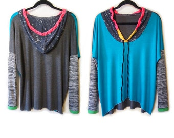 Turquoise Patch  Hoody Sport Tunic