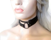 Whip collar choker, Oring choker, leather choker edgy,leather wrap by Renegade Icon Designs