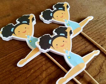 Gymnastics Girls Party - Set of 12 African American Gymnast Girl Cupcake Toppers by The Birthday House