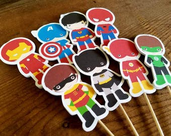 Superhero Friends Party Collection - Set of 16 Double Sided Assorted Superhero Cupcake Toppers by The Birthday House