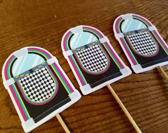 Fabulous 50s Party - Set of 12 Jukebox Double Sided Assorted Cupcake Toppers by The Birthday House