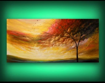 """original abstract art painting yellow red orange green surreal fantasy triptych lollipop tree painting yellow gold red cloud sunset 72"""""""