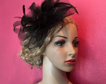 Black Feather Hair, Vintage Hair, Feather Headband, Vintage Russian Netting Headband, Birdcage Netting Headband, Vintage Headband