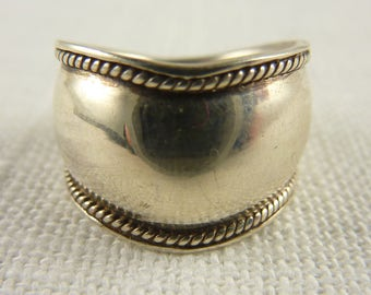 Vintage Thai Sterling Band with Rope Border Size 6.25