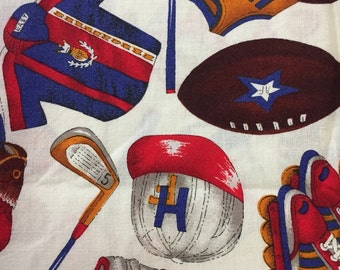 Sports fabric,  cotton print. quilting, sewing, 22 inch of a yard, cream background red, blue