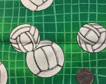 Volleyball  fabric, green and white cotton print. quilting, sewing, 19.5 x 44 inches, print by Fabri-quilt