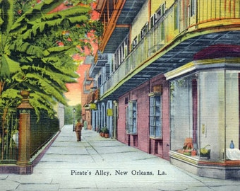 1942 Vintage Postcard - Pirate's Alley, New Orleans