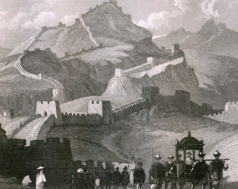 Antique Print on The Great Wall of China - 1851 Engraving- Plate 45
