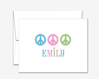 Personalized Stationery - Peace Signs - Folded Note Cards