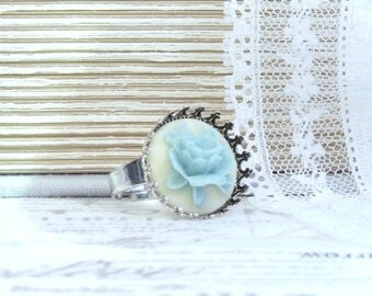 Blue Rose Ring Shabby Chic Ring Cameo Ring Blue Flower Ring Light Blue Ring Blue Floral Ring