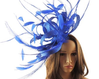 Ostrich Royal Blue Fascinator Cocktail Hat For Weddings, Races and Proms With Headband(40 colours avail)