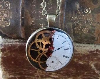 Steampunk Watch movement pendant - Ripped - Steampunk Necklace - Repurposed art