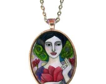 Statement Necklace - Kuan-Yin Goddess - Goddess Jewelry - Goddess Art - Buddhist necklace - gifts for her - girlfriend gift necklace - Boho