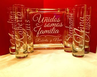 Spanish language Family Blended Unity Sand Ceremony Glass Containers - Glass Block with Together we make a Family - Personalized - Side vess
