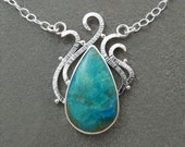 Blue Peruvian Boulder Opal Gemstone Cabachon Sterling Silver Necklace