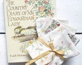 Book and Fabric Gift Set - Mothers Day Gift - Book Bundle - Gift Idea - Country Diary Edwardian Lady - Vintage Fabric - Fat Quarter Bundle