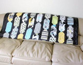 Modern Lap Quilt, Quilted Sofa Throw - Blue, Green, Yellow Throw Quilt,