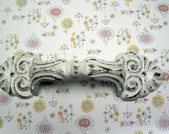 Barn Door Gate Handle Pull Cast Iron Painted White Shabby Style Chic Distressed Ornate French Paris Chic Large Swirl Cabinet Drawer Pull