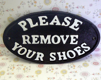 Please Remove Your Shoes Oval Cast Iron Sign Classic Black With White Letter Wall Entryway Mudroom Door Decor Plaque Request Take off Shoe