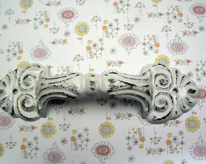 Barn Door Gate Handle Pull Cast Iron Painted White Shabby Elegance Distressed Ornate French Paris Chic Large Swirl Cabinet Drawer Pull