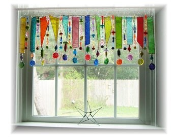 Spring Has Sprung NUMBER ONE Stained Glass Window Treatment Kitchen Valance Curtain