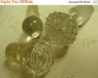 ON SALE Small Antique Vintage Perfume or Medical Faceted Glass Apothecary Stoppers Lot 210