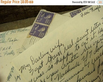 ONSALE Antique Handwritten Love Letter from a Solider to His Darling Wife 1953 from the Air Force Base in Texas
