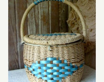 ON SALE Beautiful Blue Vintage Large Sewing Basket