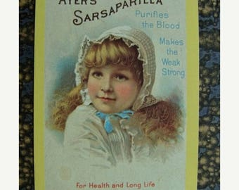 ON SALE Antique Rare Ayer's Sarsaparilla Medical Remedy for purifying the blood Bridge Trade Bridge Playing Card