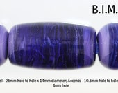 Big hole lampwork beads, Streaky Purple Glass Lampwork Drum Focal and 2 Round Accent Beads, Made to Order, Bims Bangles