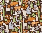 SALE FABRIC - 2D Zoo Chocolate Fabric - Alexander Henry Fabric - 100% Cotton Fabric - Zoo Animal Fabric