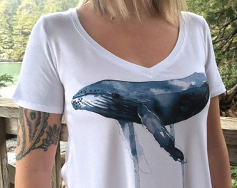 Watercolor Whale Ladies Bamboo Vneck Tshirt