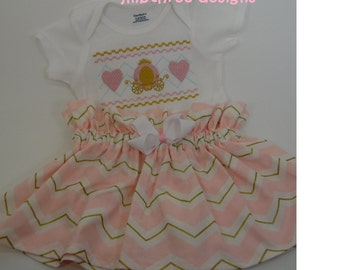 Custom Boutique Embroidered Princess carriage hearts onesie and skirt set size 12m-24m,