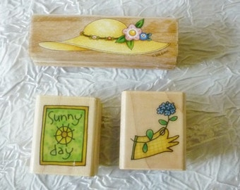 Summer theme Rubber stamps Straw Hat Gardening Sunny Days -InkadinkaDo and Me E Stamps