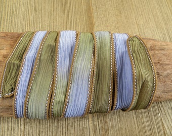 Rosemary - Hand Dyed Silk Wrap Bracelet or Necklace Ribbon - Hand Dyed Ribbon - sr31
