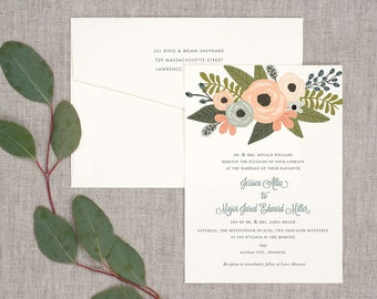 Spring Blooms Wedding Invitations - Classic Timeless Floral Whimsical Vintage